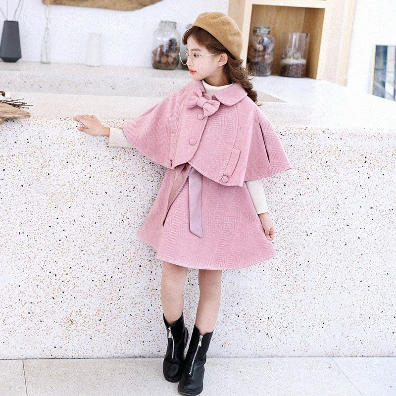 Wool Teen Kids Clothing Set Autumn Winter Children Clothing Set Sleeveless Dress + Cape Coats 2 Pcs Clothes Suits Girl Outfits corduroy teen 2018 children clothing set cotton kids outfits autumn teenage girls clothes winter set shirts pants sports suits