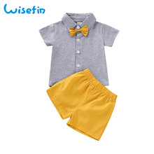High Quality Baby Boy Clothes Set Summer set For 2Pcs Gray Tops+Breathable Short Pant 0-2Years Kids with Bow Tie