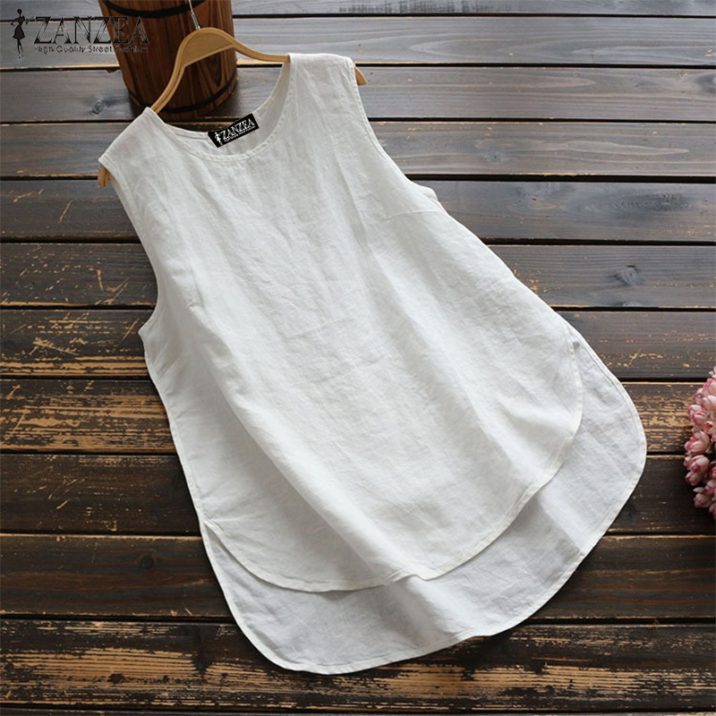 2019 Summer ZANZEA Plus Size Women Tops Casual Solid Sleeveless   Blouse     Shirt   Ladies Loose Blusas Cotton Baggy Womens Clothing