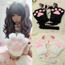 Kawaii милый котенок кошачьи уши Neko перчатки горничной лапы уши хвост галстук вечерние плюшевые лапы коготь аниме Cos кошки перчатки с ушками набор#1106