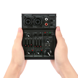 Image 1 - Ammoon AGM02 2 ערוץ כרטיס קול דיגיטלי ערבוב קונסולת אודיו מיקסר 2 band EQ מובנה 48V פנטום כוח 5V USB עבור DJ חי