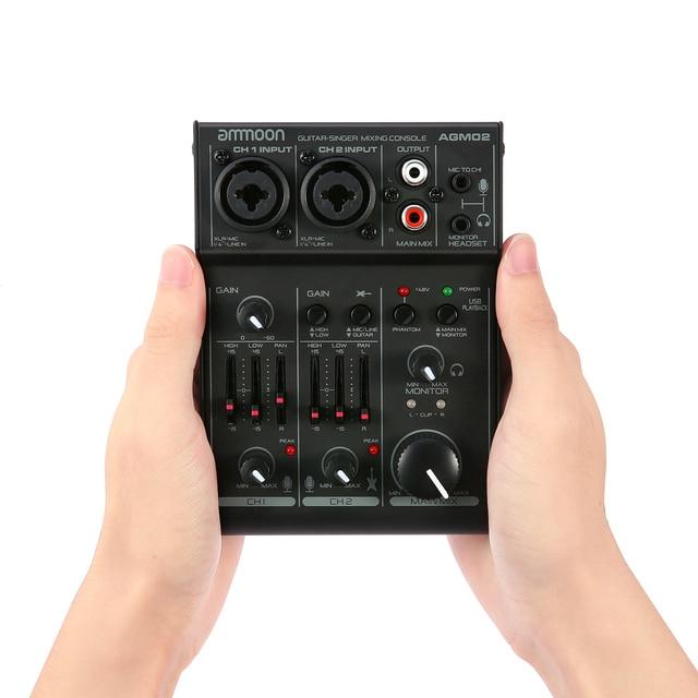 Ammoon AGM02 2 ערוץ כרטיס קול דיגיטלי ערבוב קונסולת אודיו מיקסר 2 band EQ מובנה 48V פנטום כוח 5V USB עבור DJ חי