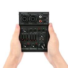 Ammoon AGM02 2 kanałowy karta dźwiękowa cyfrowy konsola miksująca mikser Audio 2 band EQ wbudowany zasilanie Phantom 48V 5V USB dla DJ na żywo