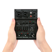 Ammoon AGM02 2 kanallı ses kartı dijital karıştırma konsolu ses mikseri 2 band EQ dahili 48V fantom güç için 5V USB DJ canlı
