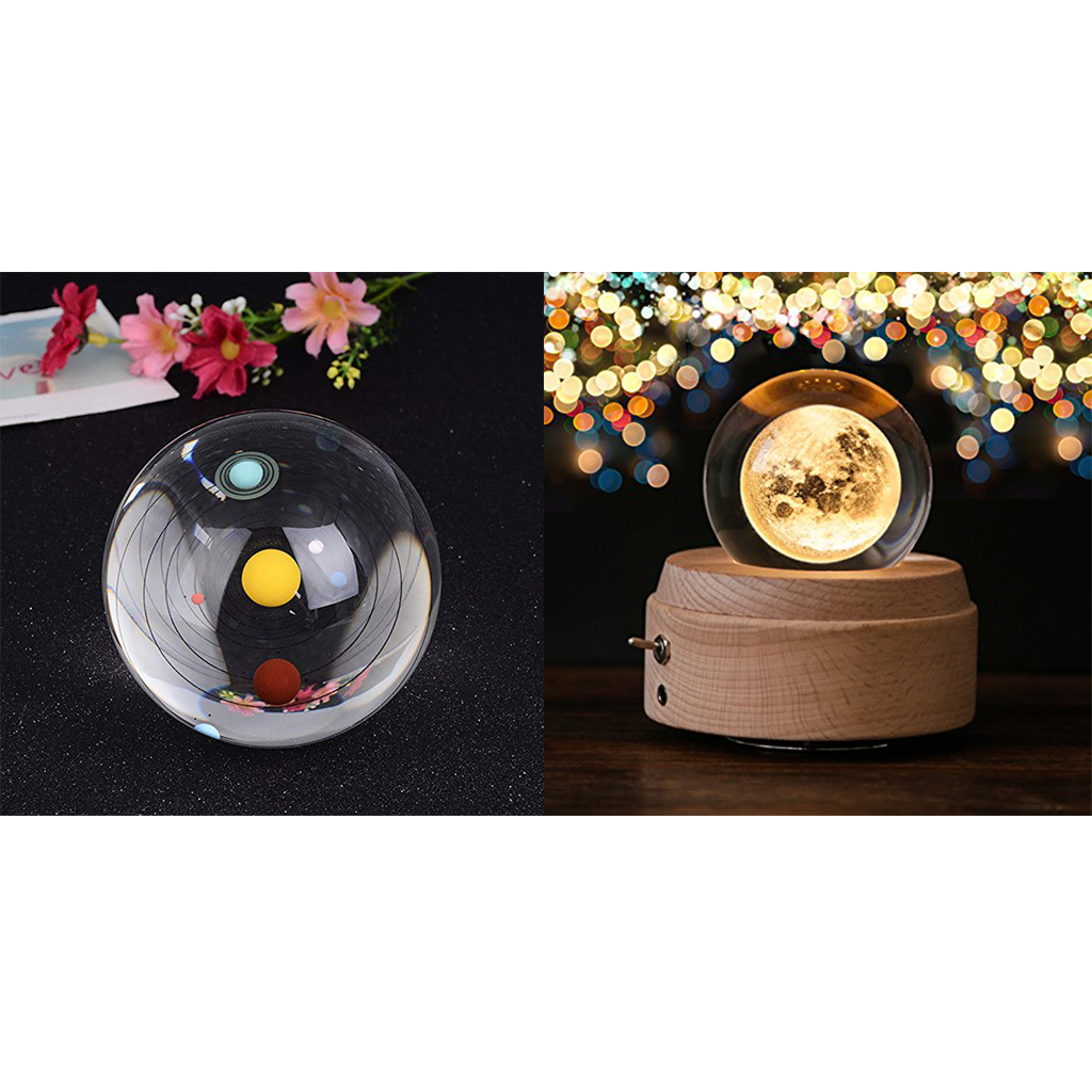3.15inch Solar System & Moon Crystal Ball Astronomical ...