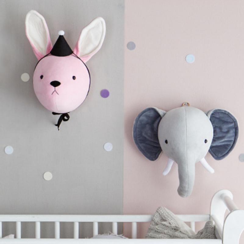 Baby Children's Room Ornaments - Elephant Bunny Head Wall Decoration Baby Dolls Pink Rabbit Gray Elephant Wall Hanging Cute