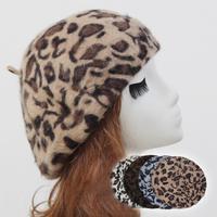 Women Beanie Hat Cap Autumn and Winter Hats Female Ladies Rabbit Fur Leopard Beret Hat Autumn Winter Beret