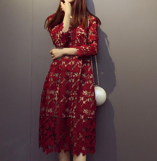 Portrait robe nouveau dames robe d'été blanc/rouge/vin/violet dentelle Crochet robe évider col en v élégant robe vente