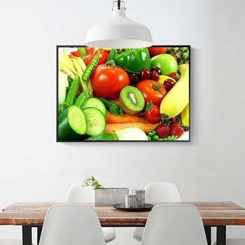 HUACAN Full Square Diamond Painting Fruit 5D Diy Diamond Embroidery Grape Kitchen Home Decoration Picture