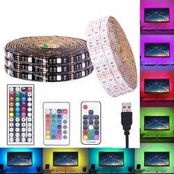 Водонепроницаемая светодиодная лента USB RGB 5 в 5050 SMD RGB USB Светодиодная лента с регулируемой яркостью Светодиодная лампа 17key 44Key/24key добавить WiFi