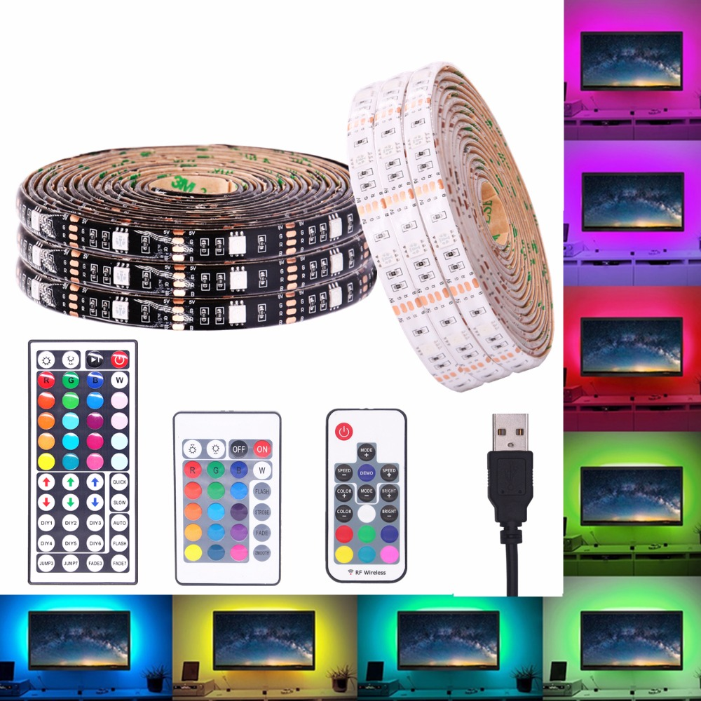 USB RGB LED Strip Waterproof 5V 5050 SMD RGB USB LED Strip Light Dimmable Ribbon tape LED lamp 17key 44Key / 24key add WiFi цена