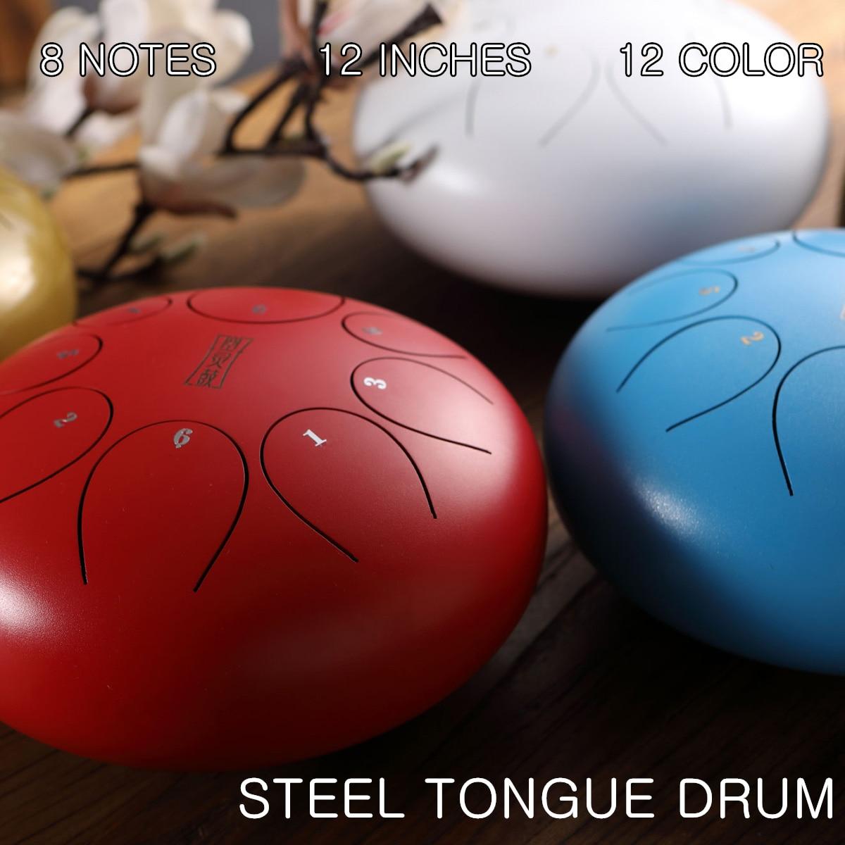 SENRHY 12 ''grande langue en acier tambour tambour à main Handpan C grande échelle pentatonique 8 Notes Hank tambour avec de nombreux accessoires pour les enfants