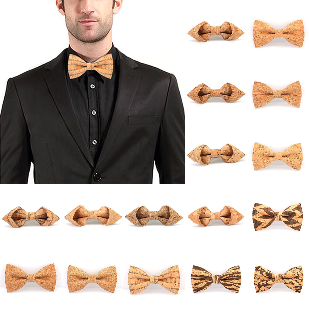 Cork Wooden Bow Tie Men's Novelty Handmade Solid Bowtie Wedding Party Print Neckwear Male New Style Blazer Bow Ties 24colors Hot