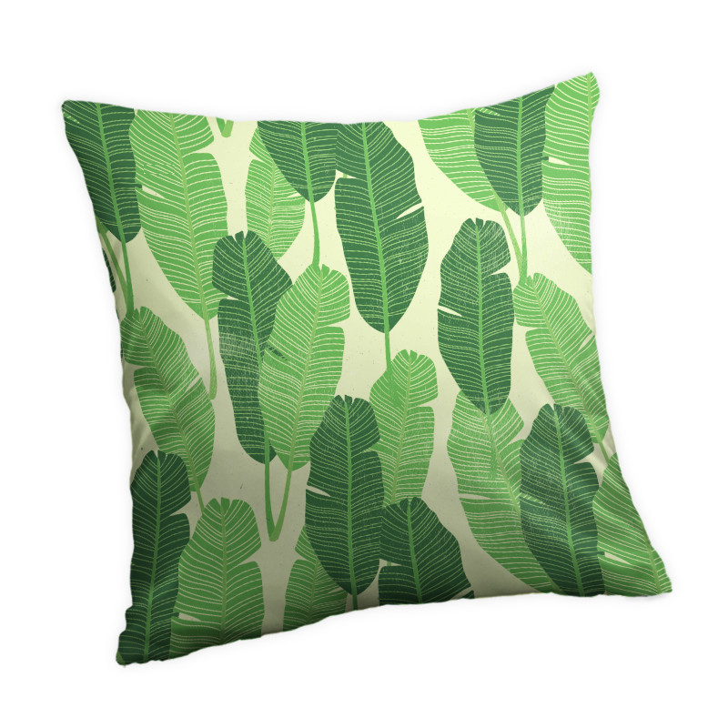 Tropical Plants Green Leaves 40x40/45x45/<font><b>50x50</b></font>/60x60 Flower Plants Peach Skin Fabric Decorative Throw <font><b>Pillow</b></font> <font><b>Case</b></font> <font><b>Pillow</b></font> cover image