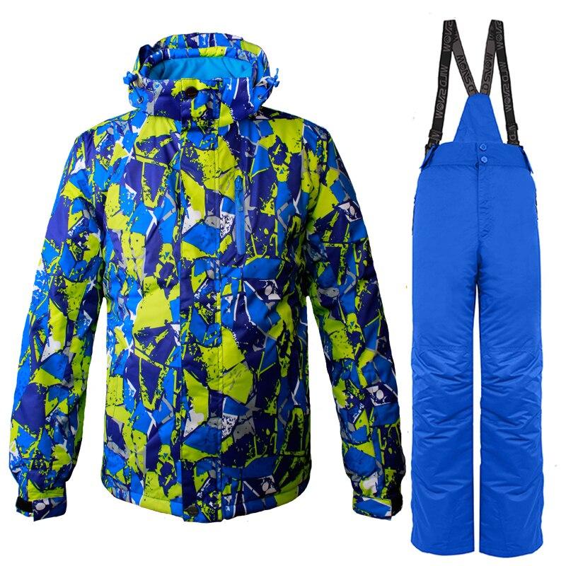 Hiver Snowboard costume hommes neige veste de Ski et pantalon de Ski en plein air thermique imperméable coupe-vent professionnel Ski de montagne vêtements