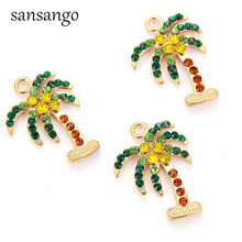 10pcs Zinc Alloy Crystal Nice Coco Nut Tree Charms Pendant For DIYJewelry Handmade 28*21mm Accessories Hot Wholesales