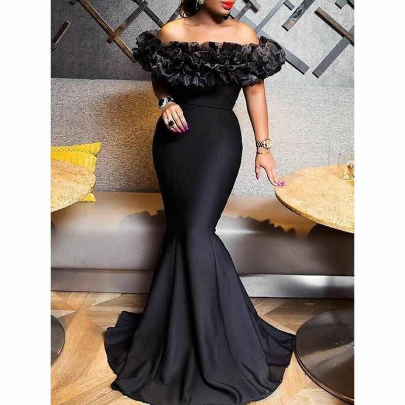 Сексуальное женское платье русалки 2019 с вырезом лодочкой Черное Длинное Макси-Платье рубашка Porm русалка вечерние элегантные длинные платья
