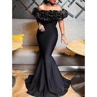Sexy Women Mermaid Dress 2019 Slash Neck Black Long Maxi Dress Robe Porm Mermaid Party Dinner Elegant Long Trumpet Dress