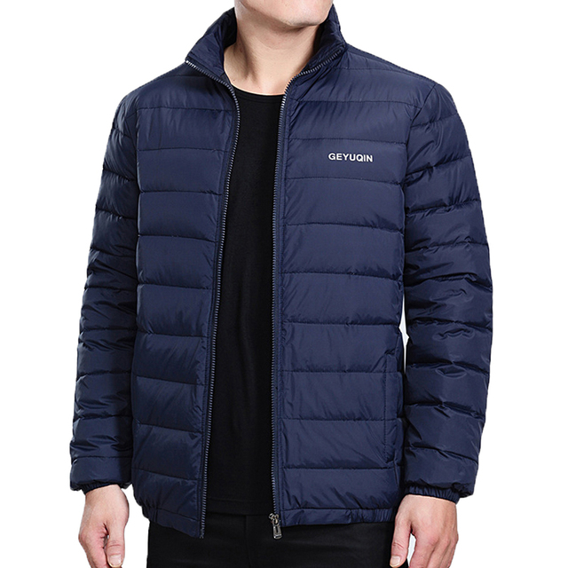 Mens Winter Jacket Coat 2020 White Duck Down Light Jacket Casual Outerwear Snow Warm Stand Collar Brand Male Feather Coat Parkas