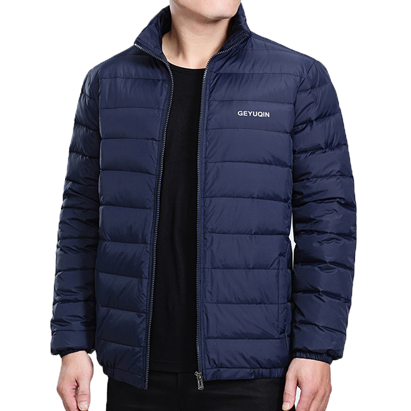 Mens Winter Jacket   Coat   2019 White Duck   Down   Light Jacket Casual Outerwear Snow Warm Stand Collar Brand Male Feather   Coat   Parkas