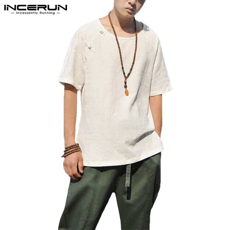 Vacation Cotton Men Clothes Big 5XL Male Tops Men Shirts Dress Crew Neck Half Sleeve Button Decor Loose Vintage Tee Male Tops