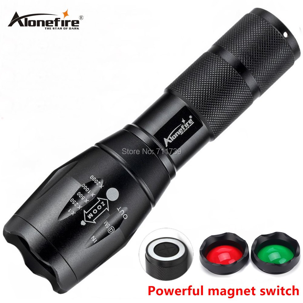 AloneFire Cree Xml T6 Tactical LED Flashlight Lantern Hunting Torch E17 G700-N Zoom Torch Red Green Lens Spotlight 18650 Battery