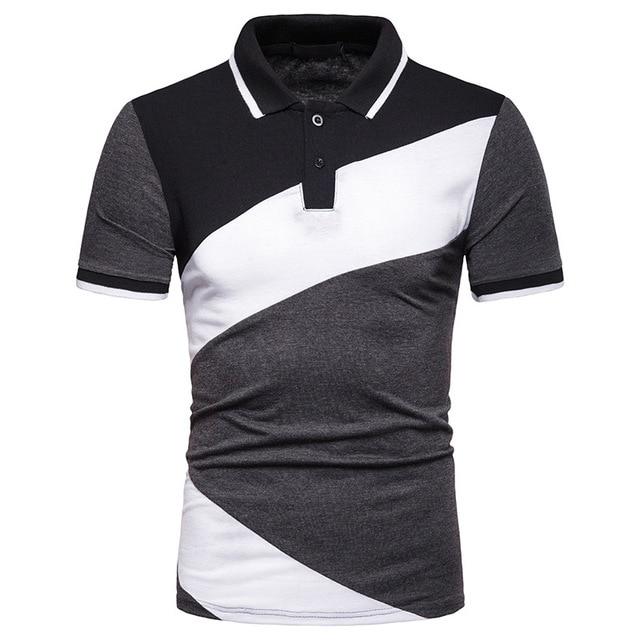 4f32096a0a1 Camiseta Polo hombre 2019 nueva moda de verano negro blanco gris Homme  retales camisetas Casual marca manga corta Camisa polo