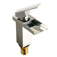 1pcs Mayitr Brass Chrome Waterfall Mixer Tap Kitchen Bathroom Single Handle Single Hole Sink Bathroom Fixtures Faucets