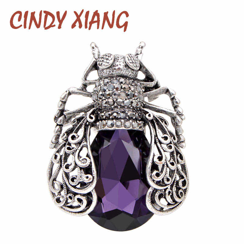 CINDY XIANG 3 Colors Choose Crystal Bug Brooches for Women Vintage Fashion Beetle Pins Hollow-out Style Brooch High Quality