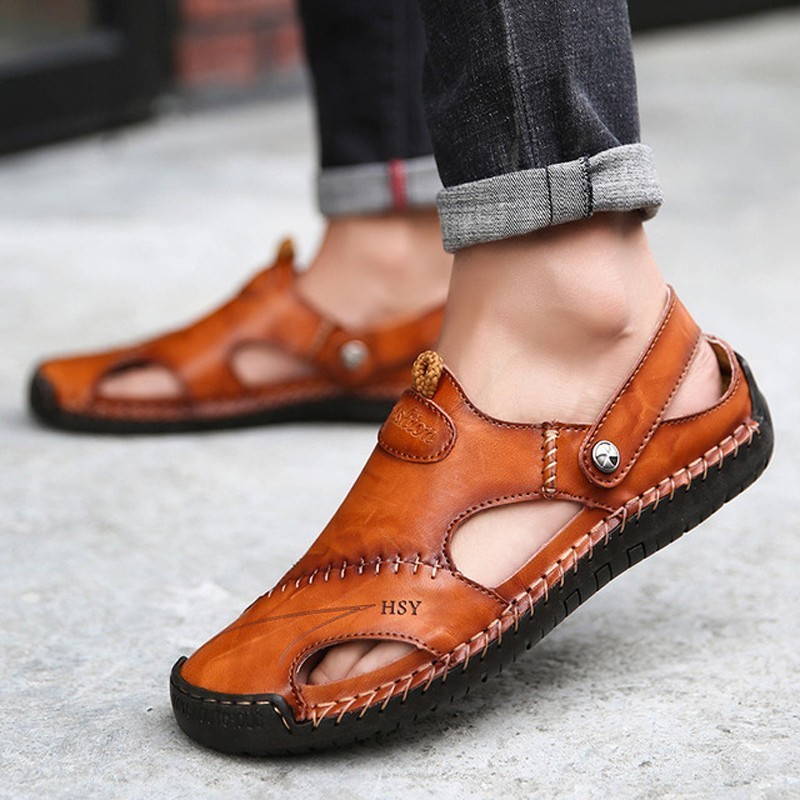 Men Sandals 2019 Summer Casual Leather Flat Shoes Big Size 38-48 Soft Comfortable Round Toe Slip On Leisure Sandals(China)