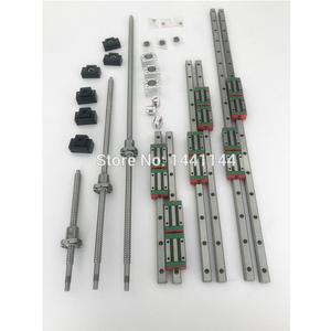 6 juegos HGR20 - 500/1500/2500mm riel de guía lineal + tornillo de bola SFU1605 + SFU2005 + BK/BF12 + BK/BF15 + acoplamiento + carcasa de tuerca para piezas cnc