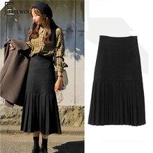 Winter Skirts Hot Sales Women Fashion Korean Japan Style Design Girls  Temperament Vintage Black Pleated High 7ec2536bb872