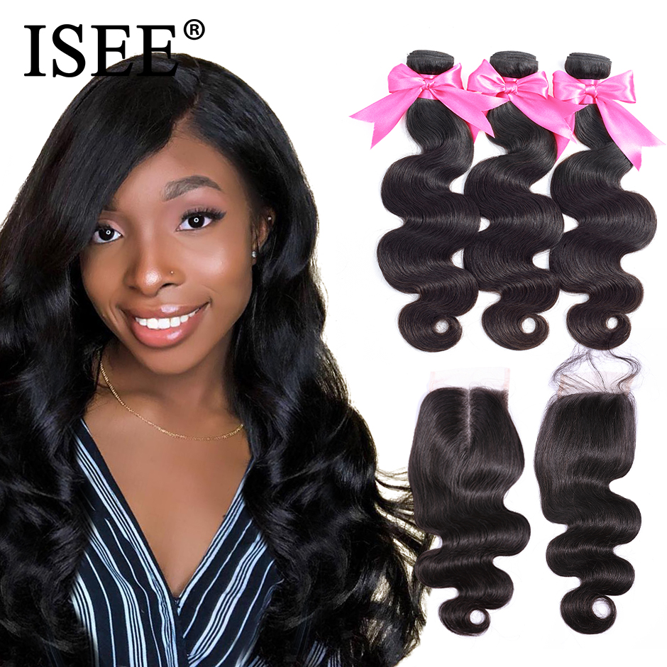 Image 2 - Body Wave Human Hair Bundles With Closure ISEE HAIR Body Wave Bundles With Closure Brazilian Hair Weave Bundles With Closure-in 3/4 Bundles with Closure from Hair Extensions & Wigs