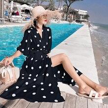 Женское элегантное платье с рукавом-фонариком; Новинка; сезон весна-осень; женские длинные платья в черно-белый горошек; S-XL; милые платья Vestidos