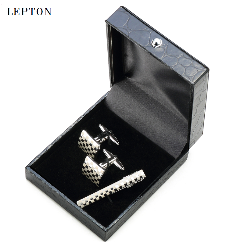 Lepton Classic Square Silver Laser Stripe Bussiness Mens Cufflinks Tie Clips Set High Quality Necktie Pin Tie Bars Clip Clasp in Tie Clips Cufflinks from Jewelry Accessories