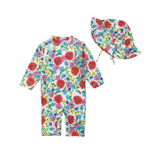 Pudcoco  Baby Kids Girl Summer Beach Swimwear Long Sleeve Zipper  Swimsuit Swimming Costume Floral Trunks+Cap SetPudcoco  Baby Kids Girl Summer Beach Swimwear Long Sleeve Zipper  Swimsuit Swimming Costume Floral Trunks+Cap Set