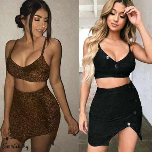 2019 נשים 2 חתיכה Bodycon נצנצים יבול למעלה פיצול חצאית סט כפתור שמלת מסיבת מועדון
