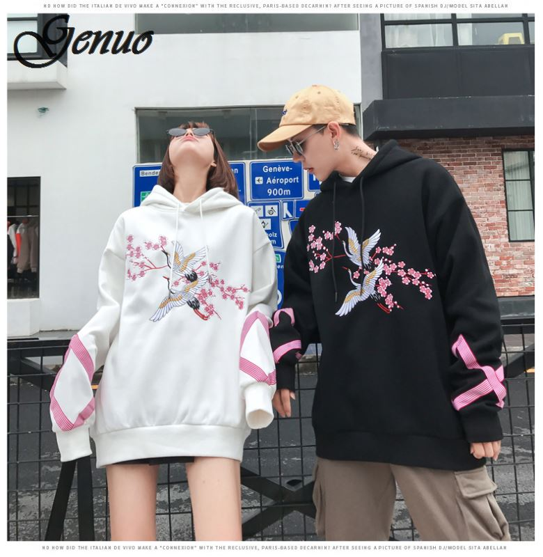 Autumn/winter 2019 Couples Hoodies Flower Anti-war Pullovers Sakura Men And Women Long-sleeved Baggy Hip-hop Hoodies