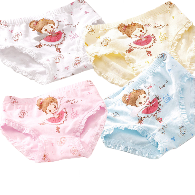 1 Pcs Children's Cotton Underwear Cartoon Printed Girls   Panties   Kids Soft Cute Short Briefs Underpants For 3-9 Years