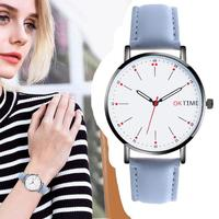 reloj mujer Fashion Leather Strap Quartz Watches Unisex Ultra thin Round Dial Analog Wristwatch