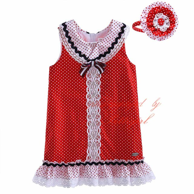 09f74ddff58b Pettigirl 2019 Wholesale Cotton Boutique Baby Girl Dress White   Red ...