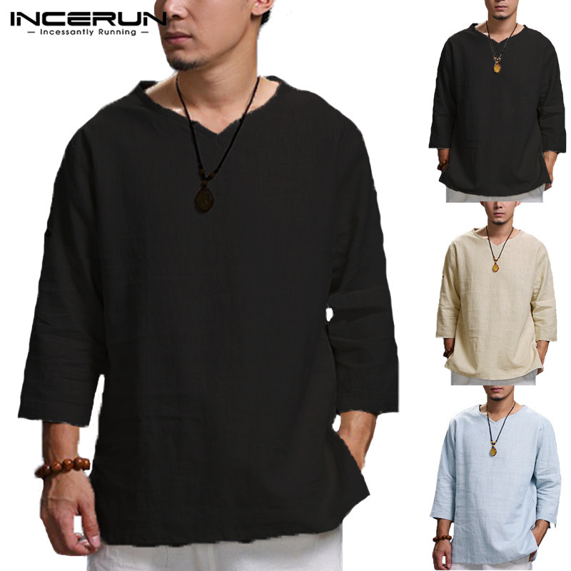 INCERUN Plus Size 5XL Chinese Style T Shirt Men Solid Loose 3/4 Sleeve V-neck Tee Shirt Men Casual Cotton Vintage Mens T-shirt