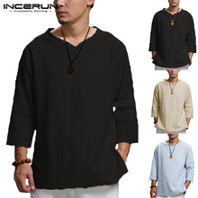 INCERUN Plus Size 5XL Chinese Style T Shirt Men Solid Loose 3/4 Sleeve V-neck Tee Shirt Men Casual Cotton Vintage Mens T-shirt plus size 3 4 sleeve printed high low t shirt