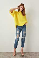 Trendyol rasgado azul Jeans detalle alta cintura mamá TCLSS19MO0009
