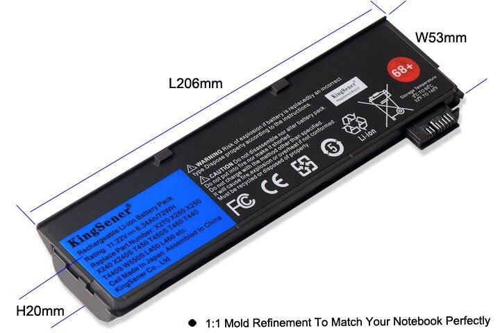 KingSener batterie d'ordinateur portable pour Lenovo Thinkpad X270 X260 X240 X240S X250 T450 T470P T450S T440S K2450 W550S 45N1136 45N1738 68 + - 4