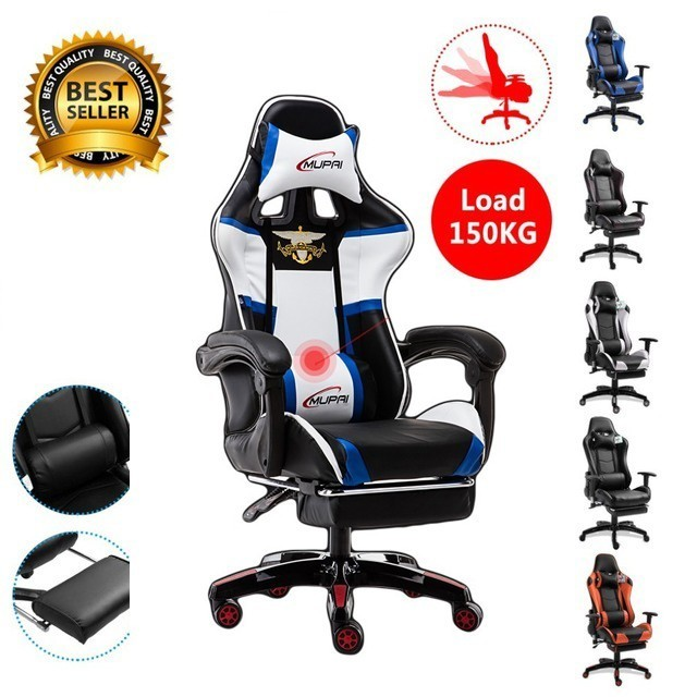 EU Massage Reclining Racing Chair Comfortable Computer Office Chair 360 Degree Revolving Gaming Recliner Armchair With Footrest EU Massage Reclining Racing Chair Comfortable Computer Office Chair 360 Degree Revolving Gaming Recliner Armchair With Footrest