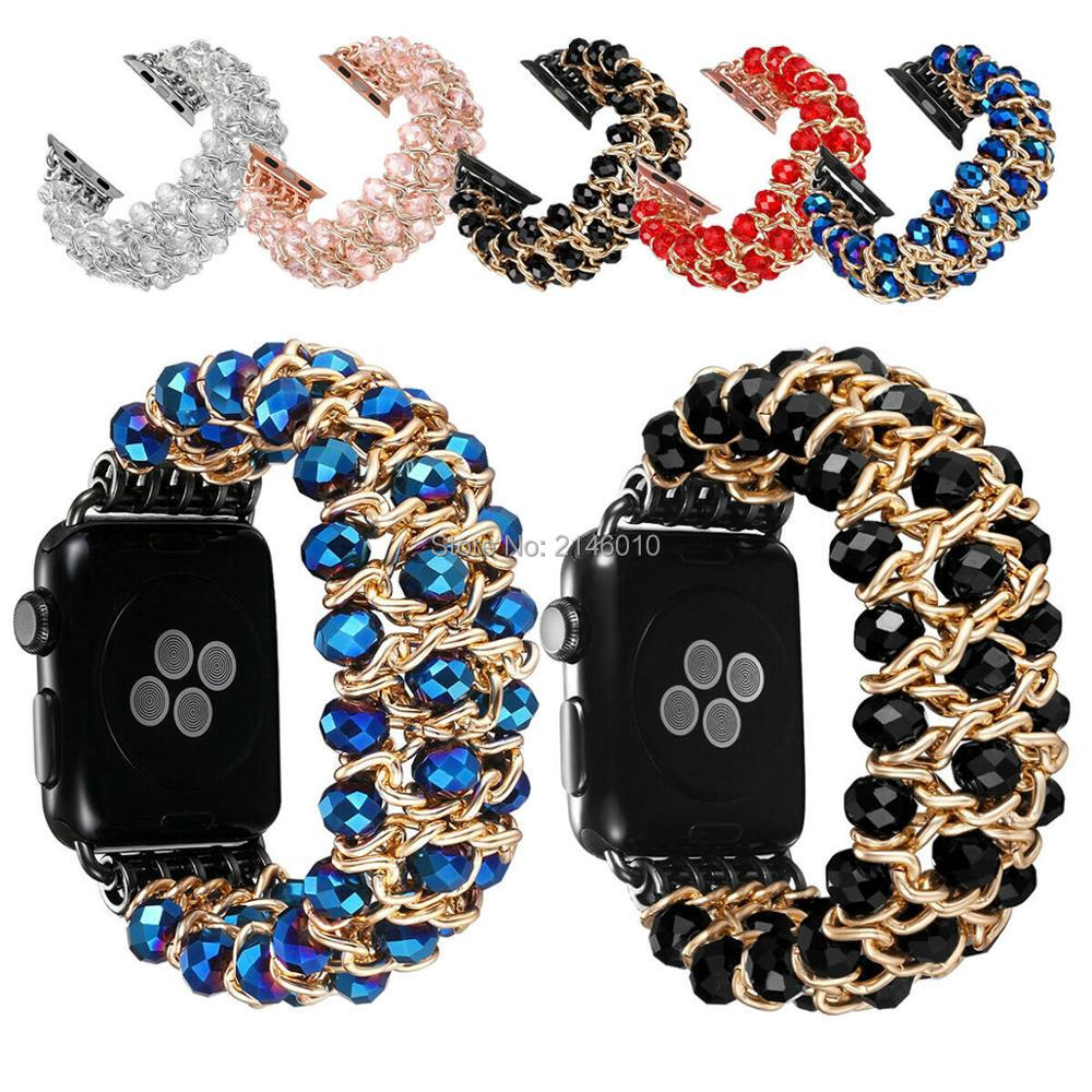 Bling Pearl Beads Strap Bracelet Band Stone for Apple Watch Series 4 3 2 1 40MM 44MM 38MM 42MM Men Women Watch Band image