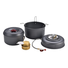 Outdoor 5 PCS Camping Cooking Set Windproof Boiler Cradle Pots Portable Cookware Cookout Utensil Gas Alcohol Stove