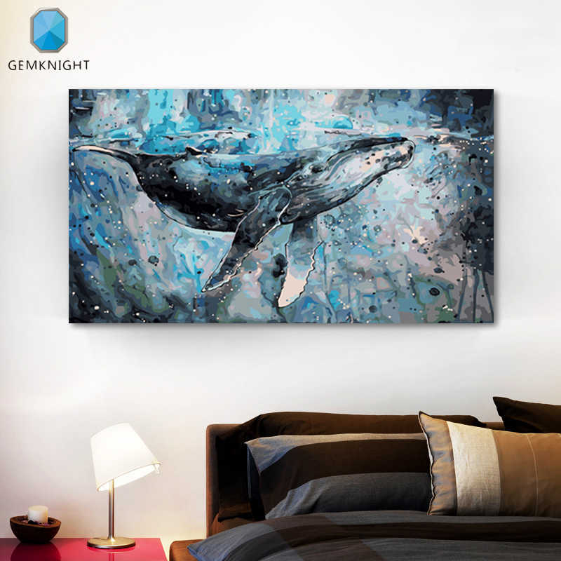 modular painting Balaenoptera musculus digital paint by numbers anime poster picture by numbers blue Big Whale