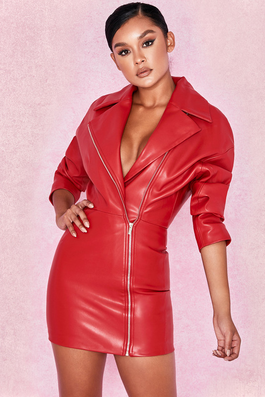 Female Red Long Sleeve Front Zipper Leather Sexy Mini Dress High Quality Evening Party Pencil Dress